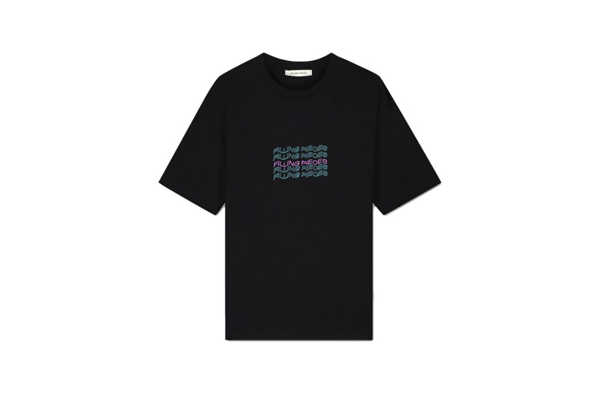 Filling-Pieces-Wavey-Text-T-Shirt-black-front